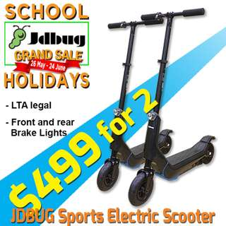 $499 for 2! LTA legal Jdbug Sports 300W electric Scooter