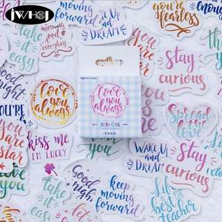(Pre-order) 45pcs/box Colorful random Quotes stickers (on promo till 28 June)