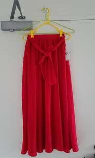 Chiffon red maxi skirt BNWT