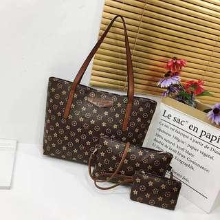 korean sling bag Brown Stars