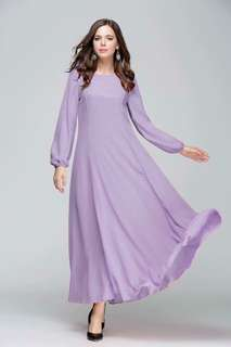 Xl Instock chiffon Long dress muslimah Jubah