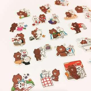 Set 15 : 24 pieces of line rabbit stickers