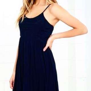 H&M Navy Blue Babydoll Dress with Spaghetti Straps