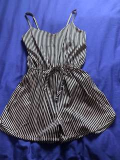 Pink black stripes short sleeveless rompers