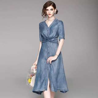 Tencel embroidered denim dress