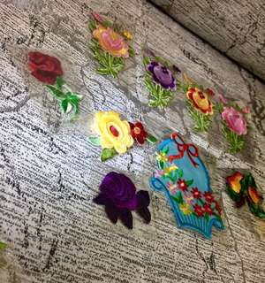 sew- on floral badges
