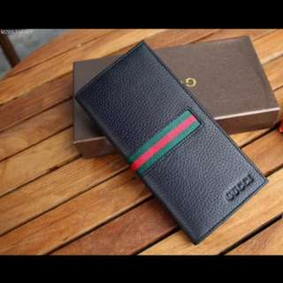 Gucci men's leather long wallet