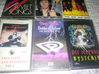ROCK CASSETTES TAPE DEF LEPPARD HAPPY MONDAYS DEEP PURPLE TOM PETTY THIN LIZZY GARY MOORE DOKKEN URIAH HEEP @$8 EACH
