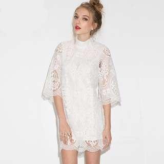 White Openwork Lace Skirt