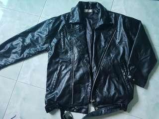 Brand new Black Bomber biker Jacket L pvc leather unisex