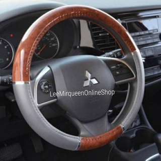 Silicone Rubber Dark Wood Grain and Gray Steering Wheel Cover