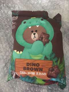Sealed Instock Official line friends dino brown snack chocolate
