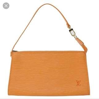 Louis Vuitton Pochette Orange Epi Leather