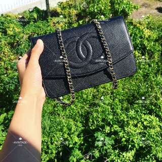 (SOLD)Chanel Vintage 黑色荔枝皮 WOC