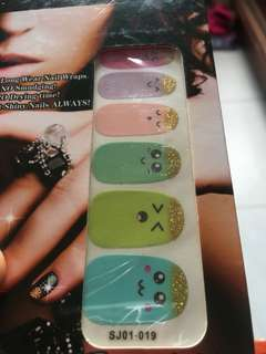 Nail art cute shiny with glitter multi colour blue pink purple no drying time just stick