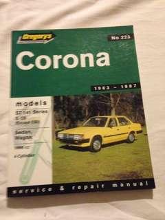 Gregory's No.223 1983-1987 Toyota Corona ST 141 Service Repair Manual