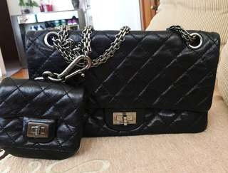 Chanel 24cm reissue metallic black w mini pouch