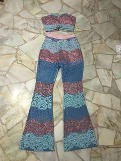 Lace top and pants set
