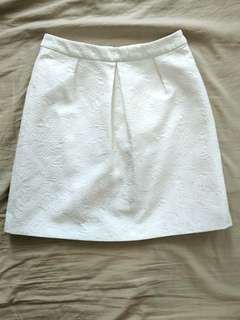 Ever New white brocade skirt