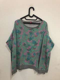 BIG SIZE SWEATER FLORAL