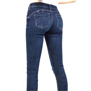大翹臀 Bershka 經典熱銷 push up 提臀 翹臀褲 深藍 單邊膝蓋破洞 超顯瘦 牛仔長褲 👖34/24/S