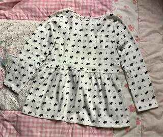 (#30)Long Sleeves Puppy Dog Print Top