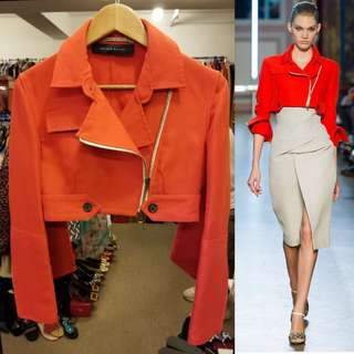 Roland Mouret orange red shirt jacket size FR36