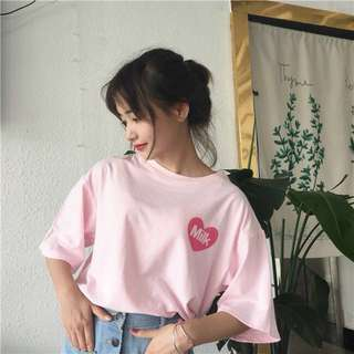 🚚 粉色日系豆奶上衣