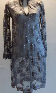 Grey lace kurung with Thai songket and corset - Adult Size S