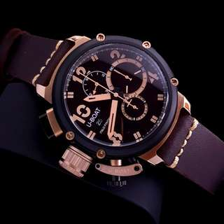 Jam Tangan U-BOAT Chimera B and B Coklat Rose Gold Bezel Hitam KW Super