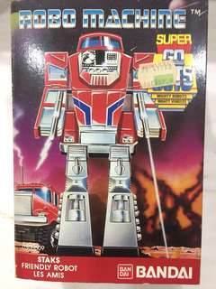 Vintage 1985 Made in Singapore Bandai Popy Super Gobots Robo Machine Staks Truck transformers MIB