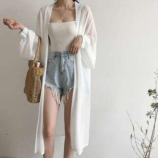 (預)夏款中長版薄版寬鬆雪紡顯瘦防曬外套