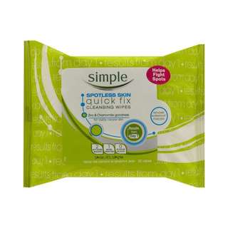 Simple Spotless Skin Quick Fix Cleansing Wipes (25 pc)
