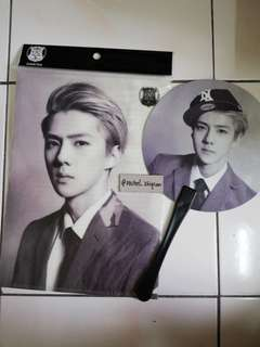 EXO SEHUN OFFICIAL A4 CLEARFILE & FAN SET