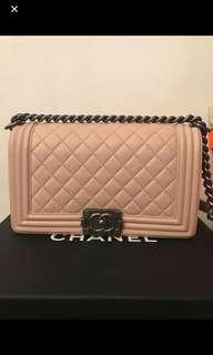 Chanel boy 25cm pink 櫻花粉x 復古銀鏈