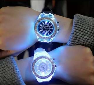 LED Rhinestone Luminous Quartz Watch {Couple watch}