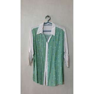 Green and White Button Down Top with Sleeve