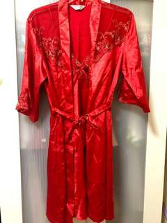 Red Lace Satin Robe with Night Dress