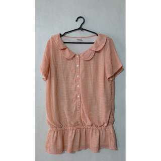 Long Orange patterned top with collar