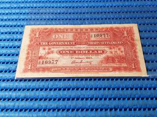 1925 Straits Settlements $1 One Dollar Note J/11 10977 Dollar Banknote Currency
