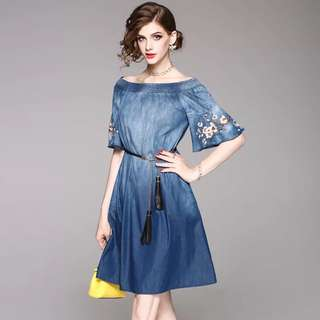 off shoulder cotton denim dress with belt
