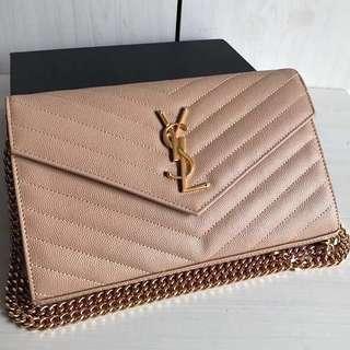 Saint Laurent Chain Wallet Matelasse Leather