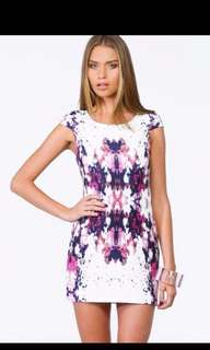 Princess Polly white pink and purple patterned dress