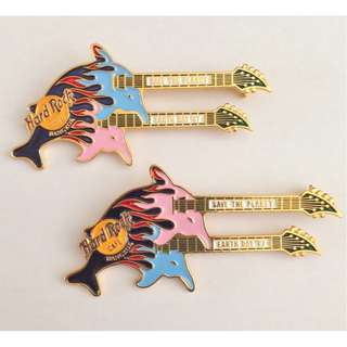 Hard Rock Cafe BANGKOK 1997 EARTH DAY Dolphins Guitar PIN Blue Over Pink HR #929 n Pink Over Blue HR #930