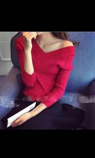 Korean V Neck Knitted Long Sleeve