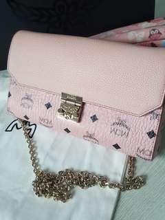 Authentic MCM Millie Flap Crossbody Bag Soft pink