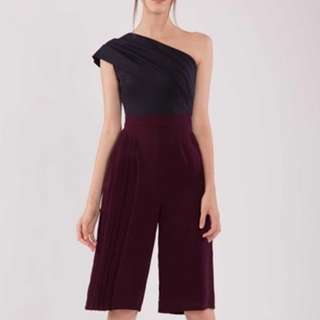 Navy and Burgundy Jumpsuit