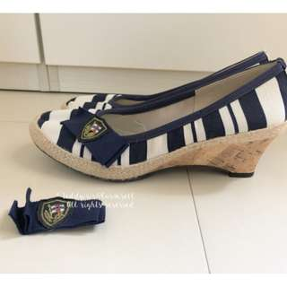 MADE IN JAPAN Jelly Beans Style Canvas Wedges 藍白間條海軍風船底鞋