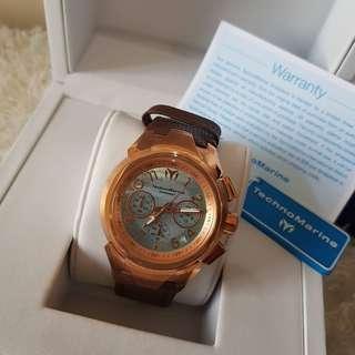 Authentic Technomarine Sea Mens TM715037 42mm Rose Gold Watch