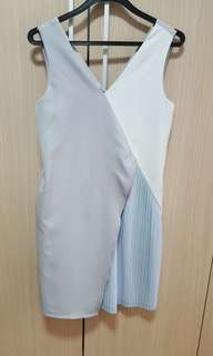 Baby blue/grey pleated dress